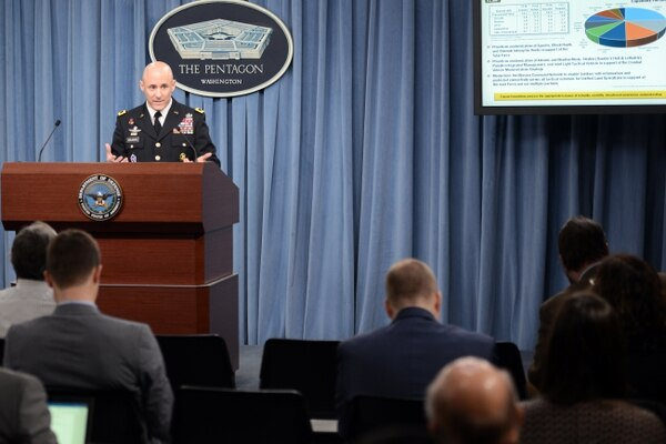 Lt. Gen. Thomas Horlander outlines the Army's fiscal 2017 budget during a briefing at the Pentagon on Feb. 9, 2016. (C. Todd Lopez/U.S. Defense Department)