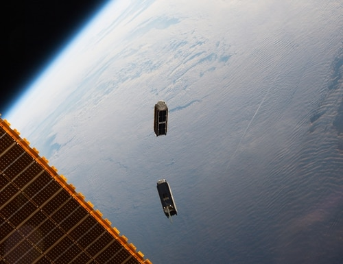 Two CubeSats, part of a constellation built and operated by Planet Labs Inc. to take images of Earth, were launched from the International Space Station in 2016. (NASA)