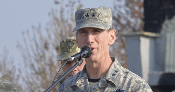 Maj. Gen. Clay Garrison, California Air National Guard commander, addresses service members from participating countries during the opening ceremony for the Clear Sky 2018 exercise at Starokostiantyniv Air Base, Ukraine, Oct. 8. (Tech. Sgt. Charles Vaughn/Air National Guard)