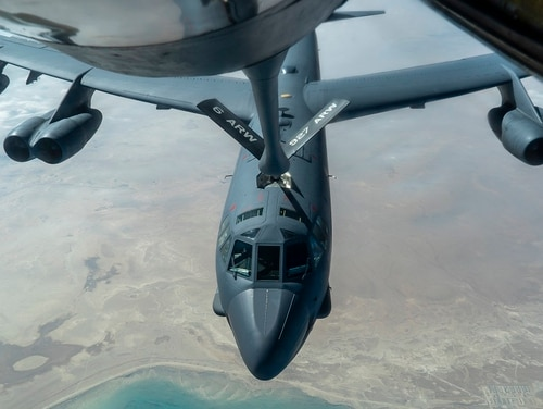 A U.S. Air Force B-52H Stratofortress from Minot Air Force Base, N.D., is refueled by a KC-135 Stratotanker in the U.S. Central Command area of responsibility Wednesday. The U.S. flew strategic bombers over the Persian Gulf for the second time this month, a show of force meant to deter Iran from attacking American or allied targets in the Middle East. (Senior Airman Roslyn Ward/Air Force via AP)