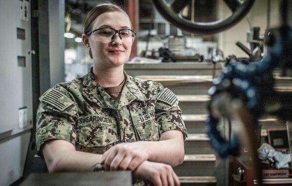 Machinery Repairman 2nd Class Hannah Swearingen is assigned to the Mid-Atlantic Regional Maintenance Center in Norfolk. (Mark D. Faram/Staff)