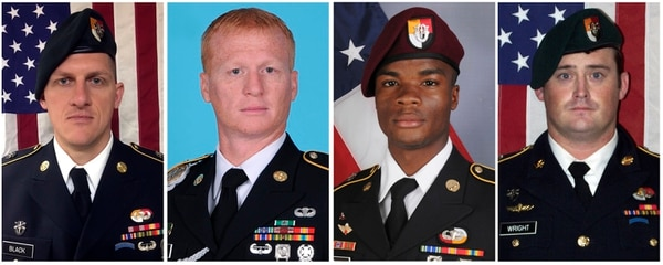 From left, Staff Sgt. Bryan Black, 35, of Puyallup, Wash.; Sgt. 1st Class Jeremiah Johnson, 39, of Springboro, Ohio; Sgt. La David Johnson of Miami Gardens, Fla.; and Staff Sgt. Dustin M. Wright, 29, of Lyons, Ga. All four were killed in the Niger ambush last year. (Army)