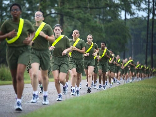Marine Corps recruits finish of the run portion of their strength test on Parris Island on July 20, 2018. On Friday, Veterans Affairs Secretary Robert Wilkie said his department needs to do more to be ready for the surge in women veterans expected in coming years. (Sgt. Dana Beesley/Marine Corps)