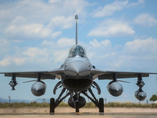 An F-16 Fighting Falcon from the 314th Fighter Squadron taxis toward its new home in the hangars at Holloman Air Force base, N.M., in June 2015. An F-16 from Holloman's 49th Wing crashed during a training mission Tuesday evening, the base said. (Senior Airman Chase Cannon/Air Force)