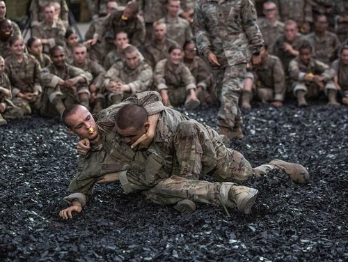One of the final events prior to the trainees induction ceremony is combatives, pictured here at Fort Jackson, South Carolina, on Aug. 21. (Army)