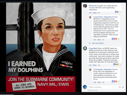 Submarine Force Atlantic's Facebook page took it to thread-dwelling comment trolls recently over a post about increased opportunities for women aboard submarines. (Screenshot/Facebook)