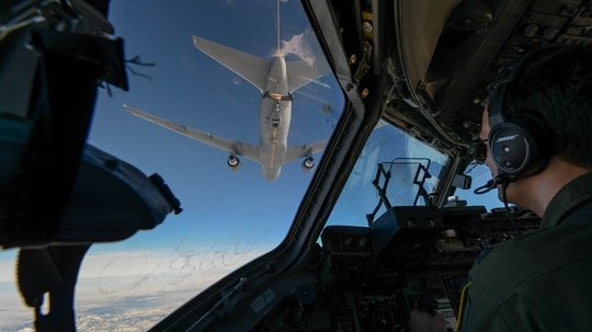 Capt. Wade Gallup, 7th Airlift Squadron pilot, approaches a KC-46 Pegasus during refueling training over central Washington state on Jan. 30, 2019. (Airman 1st Class Sara Hoerichs/U.S. Air Force)