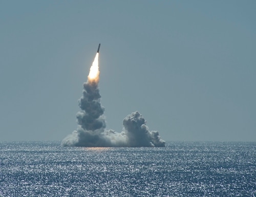 An unarmed Trident II missile launches from Ohio-class ballistic missile submarine USS Maine (SSBN 741) off the coast of San Diego on Feb. 12, 2020. (MC2 Thomas Gooley/Navy)