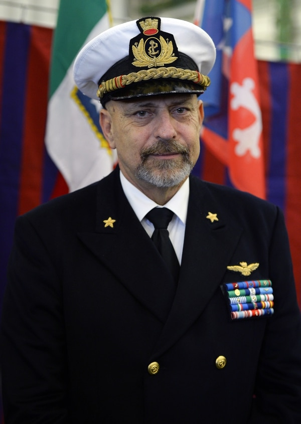 Italian Navy chief of staff Admiral Giuseppe De Giorgi attends a ceremony marking the departure of the Cavour aircraft carrier from the Civitavecchia harbour for its mission