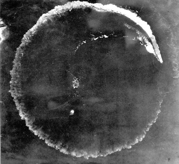 This June 1942 file photo shows an aerial photo of a Japanese carrier maneuvering in a complete circle in an effort to escape in the Midway Islands, Hawaii. (Army)