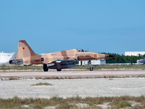 An F-5N Tiger II crashed today, but the pilot ejected and was safely recovered (MC1 Brian Morales).