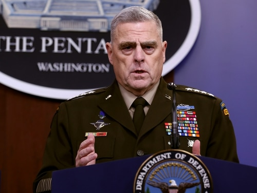 Gen. Mark Milley, chairman of the Joint Chiefs of Staff, answers reporters' questions during an Oct. 28 news conference at the Pentagon the day after it was announced that Abu Bakr al-Baghdadi was killed in a U.S. raid in Syria (Chip Somodevilla/Getty Images)