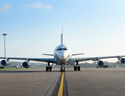 An OC-135 Open Skies aircraft is parked on a ramp at Offutt Air Force Base, Neb., on Sept. 14, 2018. The U.S. Air Force operates two modified Boeing 707 aircraft as part of the treaty. (Charles J. Haymond/U.S. Air Force)