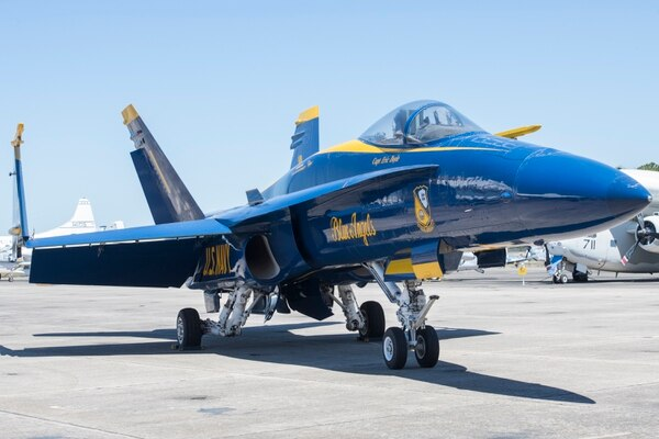 A Blue Angels F/A-18 Hornet is displayed on the flight line for visitors at the National Naval Aviation Museum in Pensacola on April 2. (Gregg Pachkowski/Pensacola News Journal via AP)
