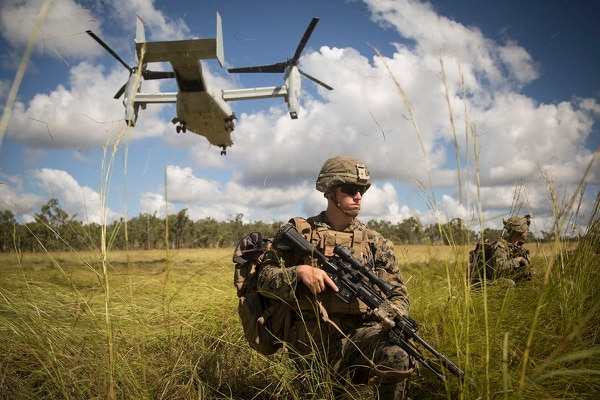Marines with the ground combat element and the aviation combat element, Marine Rotational Force – Darwin conduct an aerial insert via an MV-22 Osprey during Exercise Southern Jackaroo, Shoalwater Bay Training Area, Queensland, Australia, May 25. (Staff Sgt. Jordan Gilbert/Marine Corps)