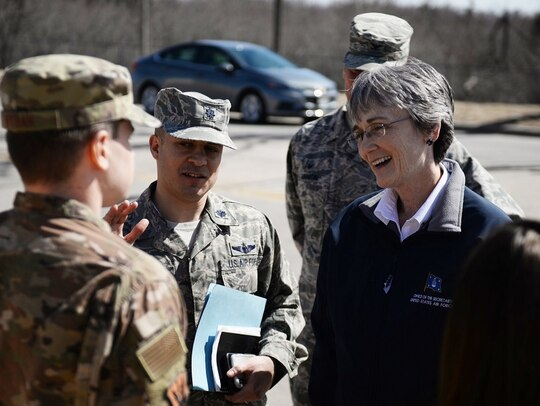 Secretary of the Air Force Heather Wilson talks to members of the 55th Wing Friday at Offutt Air Force Base, Neb. (Tech. Sgt. Rachelle Blake/Air Force)