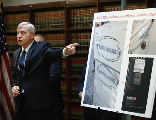 U.S. Attorney Richard P. Donoghue announces charges against Aventura Technologies, Thursday, Nov. 7, 2019, in the Brooklyn borough of New York. (Mark Lennihan/AP)