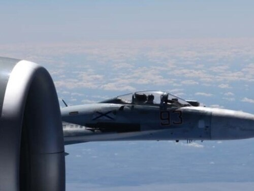A U.S. Air Force RC-135U Combat Sent strategic electronic reconnaissance aircraft flying in international airspace over the Baltic Sea was intercepted by a Russian SU-27 Flanker on June 19, 2017. Citing the fighter pilot's high rate of closure speed and poor control of the aircraft during the intercept, the interaction was determined to be unsafe by American military officials. Experts told Navy Times these intercepts mark a return to Cold War aerial practices by Moscow's military. (U.S. European Command)