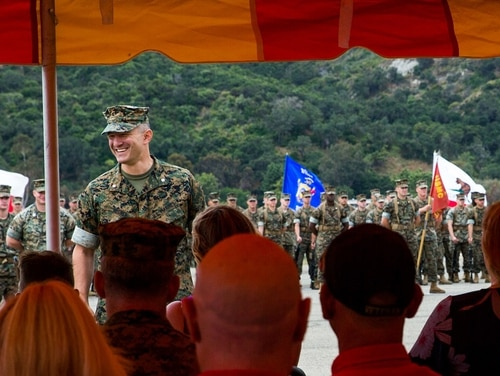 U.S. Marine Corps Lt. Col. Michael J. Regner, the incoming commanding officer of 1st Battalion, 4th Marines, 1st Marine Regiment, 1st Marine Division (MARDIV), speaks during a change of command ceremony at Marine Corps Base Camp Pendleton, California, June 21, 2019. (Lance Cpl. Jailine L. AliceaSantiago/Marine Corps)