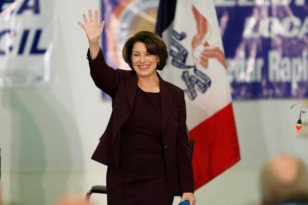 Democratic presidential candidate Sen. Amy Klobuchar arrives to speak at a fund-raising fish fry in Iowa on Nov. 2, 2019. (Charlie Neibergall/AP)