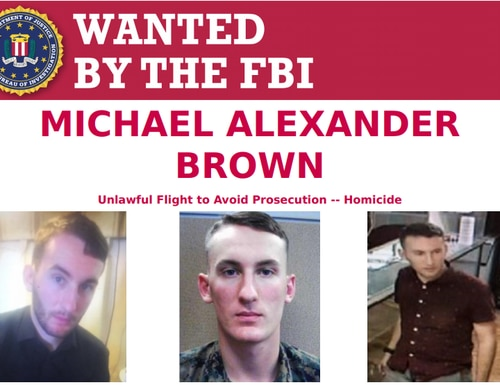 """The mother of Cpl. Michael Alexander Brown testified that her son spoke with a """"pressured,"""" """"deep"""" and """"urgent"""" voice, and told her on Halloween 2019 that """"he wasn't Michael anymore."""" (FBI)"""