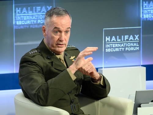 U.S. Chairman of the Joint Chiefs of Staff Joseph Dunford speaks at the Halifax International Security Forum in Halifax on Saturday. Dunford says it's problematic that American tech companies don't want to work with the Pentagon but are willing to engage with the Chinese market. (Darren Calabrese /The Canadian Press via AP)