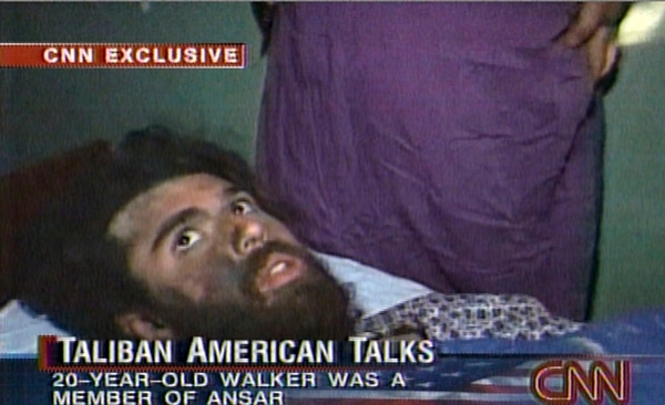 In this file image taken from video broadcast Dec. 19, 2001, John Walker Lindh is seen during an interview soon after his capture. (CNN via AP, File)