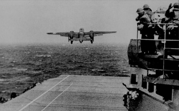 A B-25 Mitchell takes off from the aircraft carrier Hornet for the Doolittle Raid over Tokyo April 18, 1942. (Courtesy of Wright-Patterson Air Force Base, Ohio)