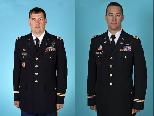 Chief Warrant Officer 3 Brian Woeber, left, and Chief Warrant Officer 2 Stephen Cantrell, went missing Aug. 15, 2017, after the Black Hawk helicopter they were on crashed off the coast of Hawaii. They were declared deceased Aug. 31, 2017.