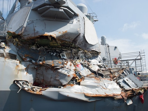 The destroyer Fitzgerald after its June 17, 2017, collision with a merchant vessel that killed seven sailors. (MC2 Christian Senyk/Navy)