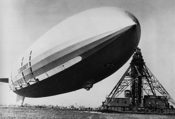 The 785-foot long dirigible USS Macon floats at its mooring at Moffett Field, Calif., in Feb. 1935. Shortly after, the rigid airship and the rare Sparrowhawk scout planes it was carrying crashed into the Pacific Ocean about 45 miles south of San Francisco. (AP Photo)