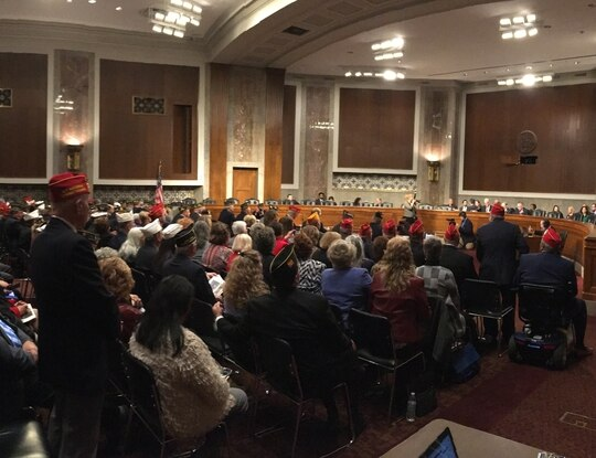Members of multiple veterans organizations crowd a Senate hearing room during the groups' annual testimony before Congress on March 11, 2020. (Leo Shane III/Staff)