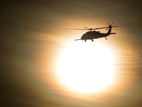 A U.S. Air Force HH-60 Pave Hawk helicopter with the 563rd Rescue Group performs aerial maneuvers during the Tiger Rescue VI exercise in Tucson, Ariz., Nov. 3, 2018. (Airman Frankie D. Moore/Air Force)