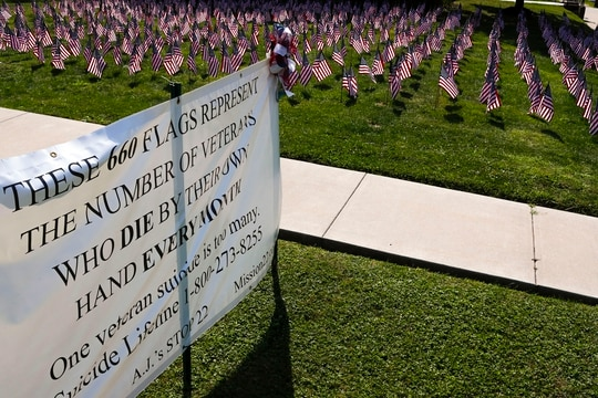 Some of the 660 American flags on display are seen by the banner on the church lawn of St. Peter's Reformed Church, Friday, Aug. 30, 2019, in Zelienople, Pa. A church spokesperson said they put the flags and banner up on Thursday for the Labor Day weekend to illustrate the number of veterans that commit suicide a year. The church web site indicates they hold monthly meetings for an American Foundation for Suicide Prevention support group. (AP Photo/Keith Srakocic)
