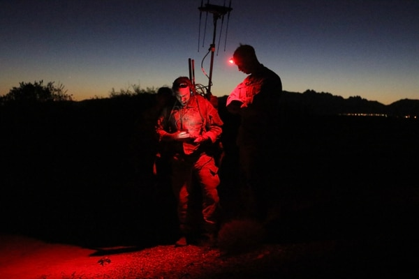 Paratroopers assigned to the 3rd Brigade Combat Team, 82nd Airborne Division, conduct a systems check on their VROD/VMAX electronic warfare equipment before conducting a tactical exercise at the recently concluded Network Integration Exercise. (Army)