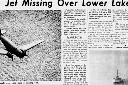 Newspaper clipping from The Times Herald of Port Huron, Michigan, from Tuesday, June 14, 1966, one day after U.S. Air Force Maj. William J. Vinopal crashed. Over 50 years later, a group of veterans aims to locate the wreckage of his F-106A fighter jet and identify his remains. (Courtesy of Donald Maury/Lake Huron Exploration)