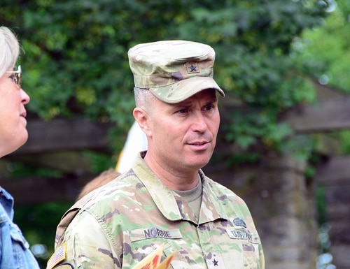 Brig. Gen. Christopher Norrie, commanding general of the 7th Army Training Command, attends a change-of-command ceremony at the Von Steuben Community Center in Ansbach, Germany, July 8, 2020. (Charles Rosemond/Army)