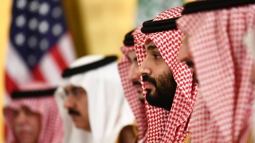 Saudi Crown Prince Mohammed bin Salman attends a working breakfast with the U.S. president during the G20 Summit on June 29, 2019. (Brendan Smialowski/AFP via Getty Images)