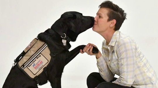 Air Force veteran Stacy Pearsall received her service dog, Charlie, in December 2017 and has already noticed changes in her mental and physical health. (Provided by Stacy Pearsall)
