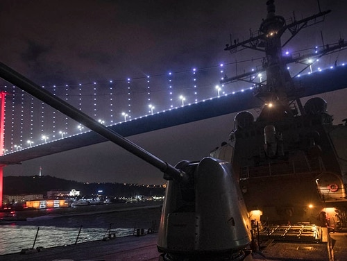 The guided-missile destroyer Donald Cook passed through the Bosphorus Strait, en route to the Black Sea, on Saturday. (Mass Communication Specialist 2nd Class Ford Williams/Navy)