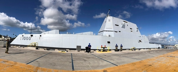 The guided-missile destroyer Zumwalt is seen docked at Joint Base Pearl Harbor-Hickam on April 2, 2019, in Honolulu. Rep. Smith describes the DDG-1000 program as one that cost America