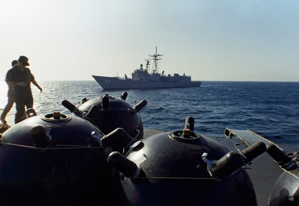 This photo from Sept. 21, 1987, shows mines on board the Iranian ship Iran Ajr being inspected by a boarding party from the command ship Lasalle in the Persian Gulf. (Mark Duncan/AP)