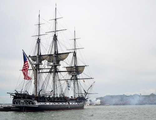 The USS Constitution sets sail in Boston on Aug. 19, 2012. (Navy)