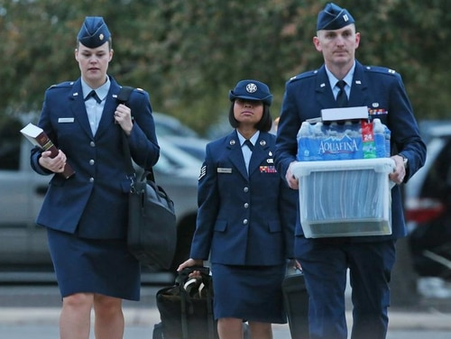 U.S. Air Force Staff Sgt. Annamarie Ellis arrives at Lackland Air Force Base for her trial on malt raining and maltreating basic trainees charges, Monday, March 24, 2014. (MUST CREDIT: San Antonio Express-News)