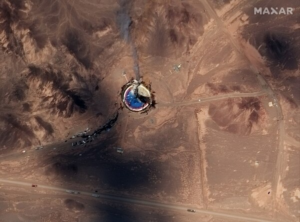 A failed Iranian rocket launch is seen Aug. 29, 2019, at the Imam Khomeini Space Center in northern Iran. (Satellite image ©2019 Maxar Technologies)