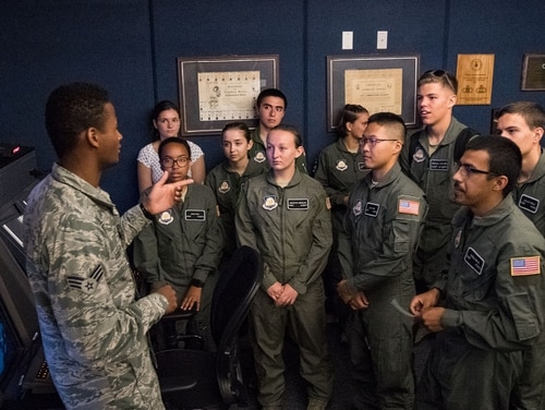 Cadets attending AFJROTC Summer Flight Academy at Delaware State University tour a Radar Approach Control facility. (Roland Balik/Air Force)