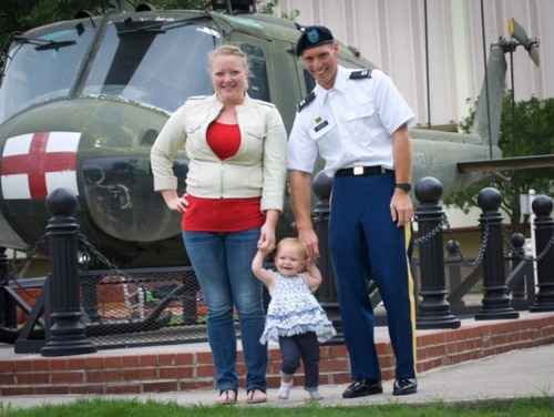 The Byler family — Cindy, Army Capt. Jonas and daughter Eliana —in a 2016 photo. They've since been joined by baby David. (Courtesy of Cindy Byler)