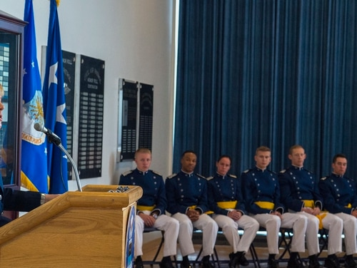 Brig. Gen. Kristin Goodwin makes remarks during the Graduation Tapping Ceremony at the U.S. Air Force Academy in Colorado, May 21, 2018. (Senior Airman Arielle Vasquez/Air Force)