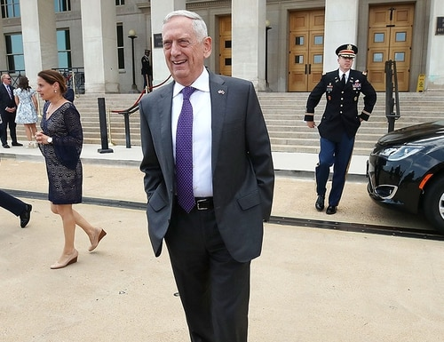 Secretary of Defense James Mattis walks up to speak to the media prior to hosting an enhanced honor cordon and meeting with Gavin Williamson, secretary of state for defense of the United Kingdom, at the Pentagon on Aug. 7, 2018, in Arlington, Virginia. (Mark Wilson/Getty Images)