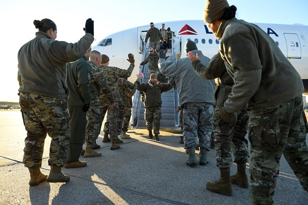Airmen from the active duty 388th and Reserve 419th Fighter Wings return home on Nov. 1, 2019, following a six-month deployment to Al-Dhafra Air Base, United Arab Emirates. The 4th Fighter Squadron's deployment was the first F-35A Lightning II combat deployment. (R. Nial Bradshaw/Air Force)